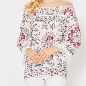 Scarf Print Off The Shoulder Blouse